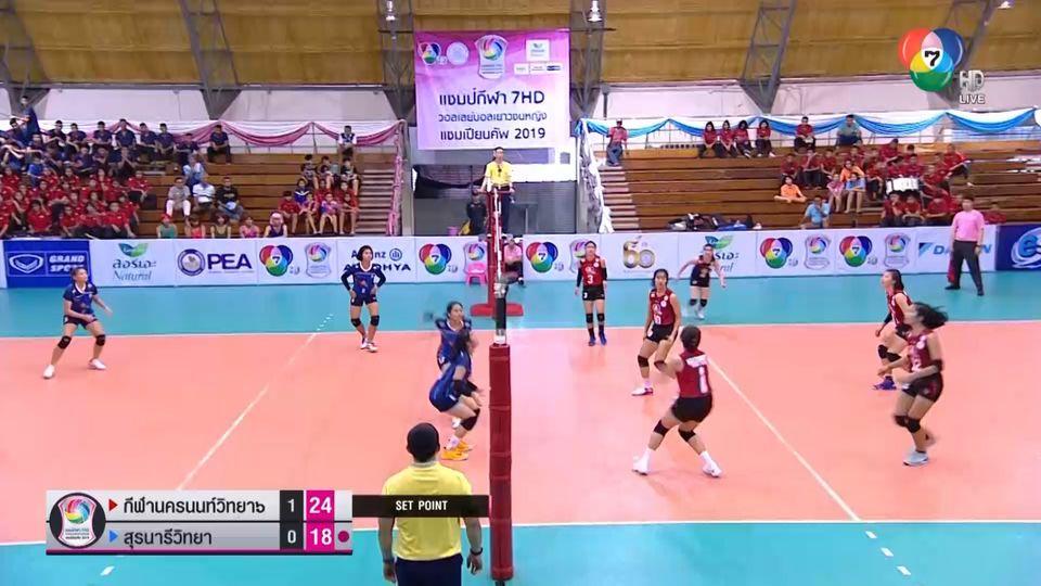 กีฬานครนนท์วิทยา 6 โชว์ฟอร์มทุบ สุรนารีวิทยา 3-0 เซต วอลเลย์บอลแชมป์กีฬา 7HD