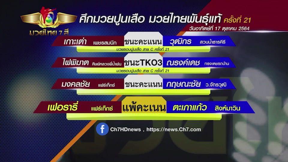 มวยเด็ด วิกหมอชิต : ผลมวยไทย 7 สี 17 ต.ค.64 ไฝพิฆาต ศิษย์หลวงพี่น้ำฝน vs ณรงค์เดช ทรงเดชรถบ้าน
