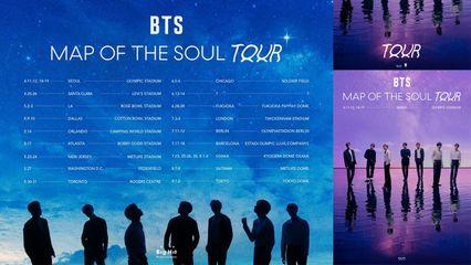 "'BTS' ประกาศตารางทัวร์คอนเสิร์ต ""BTS MAP OF THE SOUL TOUR"" รอบแรก!"